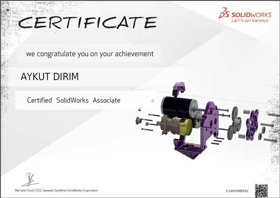 aykut dirim solidworks cswa sertifikası C-UKHYB82F6Lcadcam cnc Solidworks Solidcam Kursu lisans satısı,3d printer baskı hizmetleri izmir kalıp tasarımı ve imalatı Lazer Tarama 3D Scanner